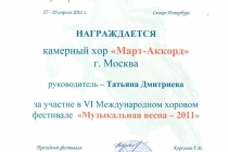 """Музыкальная весна - 2011"". г. Москва - РФ"
